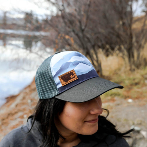 Mountain Scape Montana Leather Patch Trucker