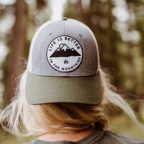 Life is Better in the Mountains Tri Tone Trucker - Grey/Green