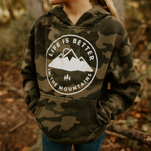 Life is Better in the Mountains Kids Hoodie - Camo