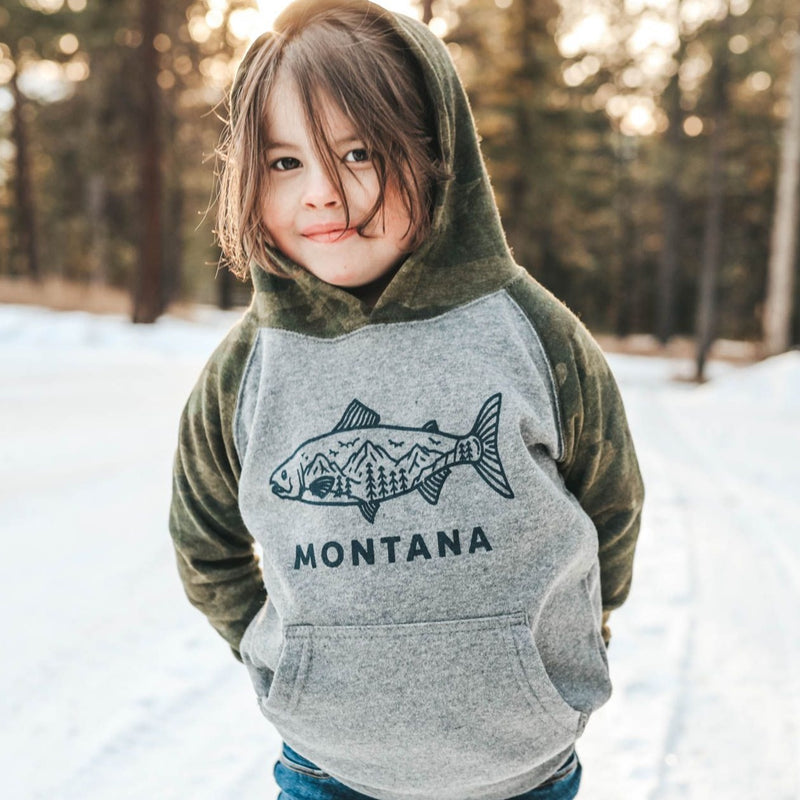 Montana Fish Toddler Hoodie - Grey/Camo
