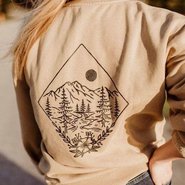 Take Me To The Wildflowers Unisex Pullover - Tan 1