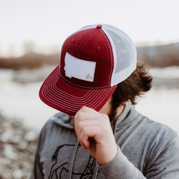 Two Tone Montana Trees Trucker - Maroon