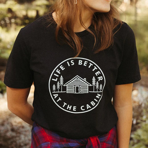 life is better at the cabin tee black