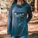 montana wildflower cowl neck pullover hoodie