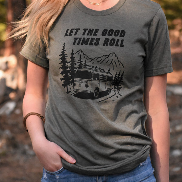 Good Times Roll Unisex Tee - Military Green