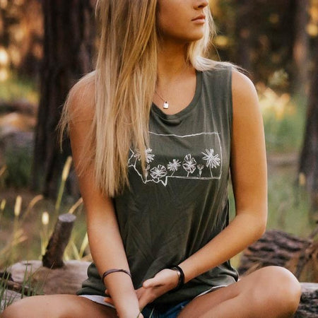 Tree Outline Festival Ladies Tee - Navy
