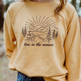 live in the moment pullover mustard