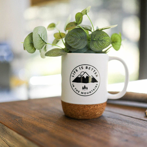 Life is Better in the Mountains Cork Mug - White 1
