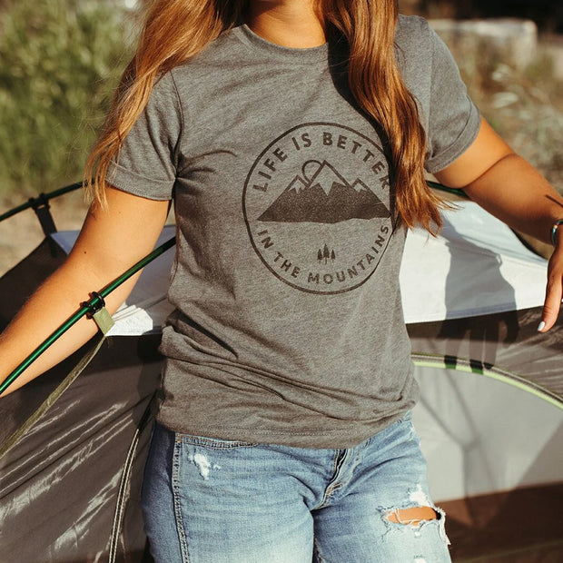 Life is Better in the Mountains Unisex Tee - Grey 1