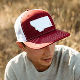 two tone montana tree trucker maroon