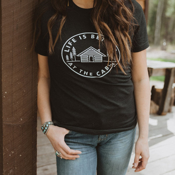 Life is Better at the Cabin Unisex Tee - Black