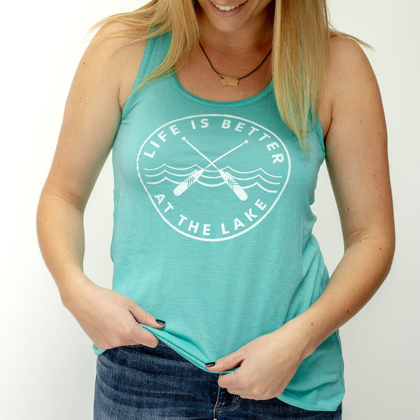 Life is Better at the Lake Ladies Tank - Teal