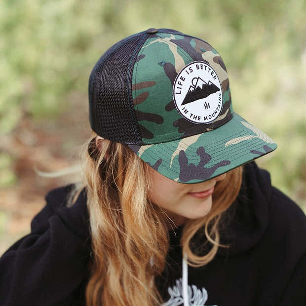 Life is Better in the Mountains Camo Trucker 1