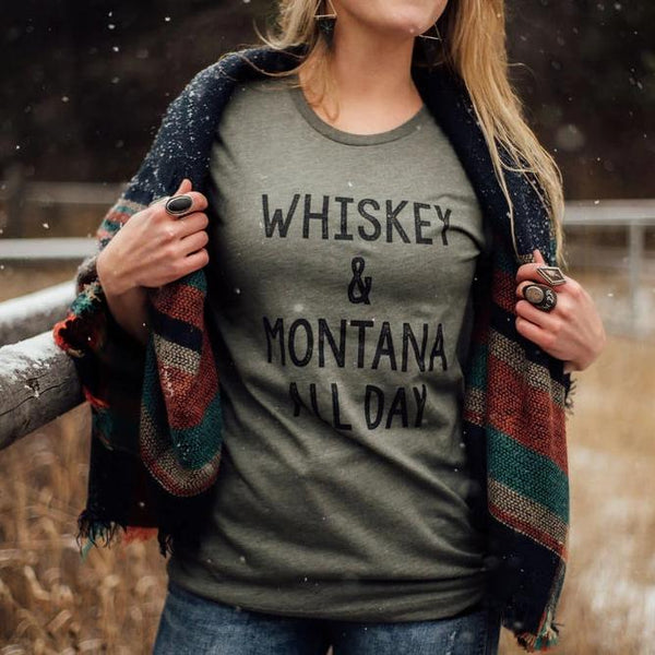 whiskey & montana all day tee