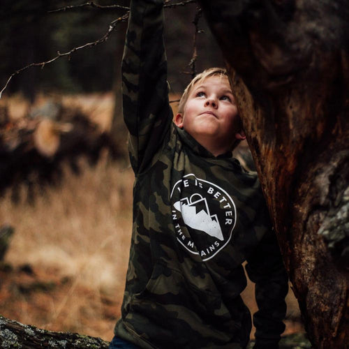 life is better in the mountains kids hoodie camo