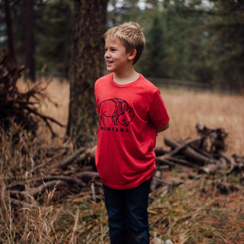 Montana Bison Kids Tee - Red