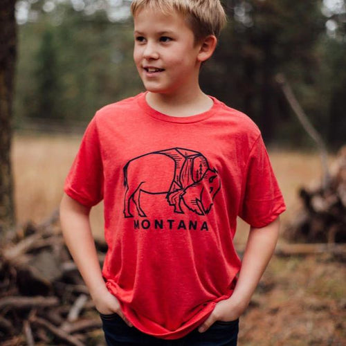 montana bison kids tee red