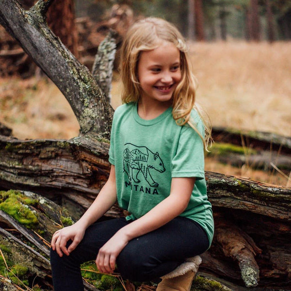 Montana Bear Kids Tee - Green