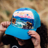 Bear Mountain Scene Kids Trucker Hat