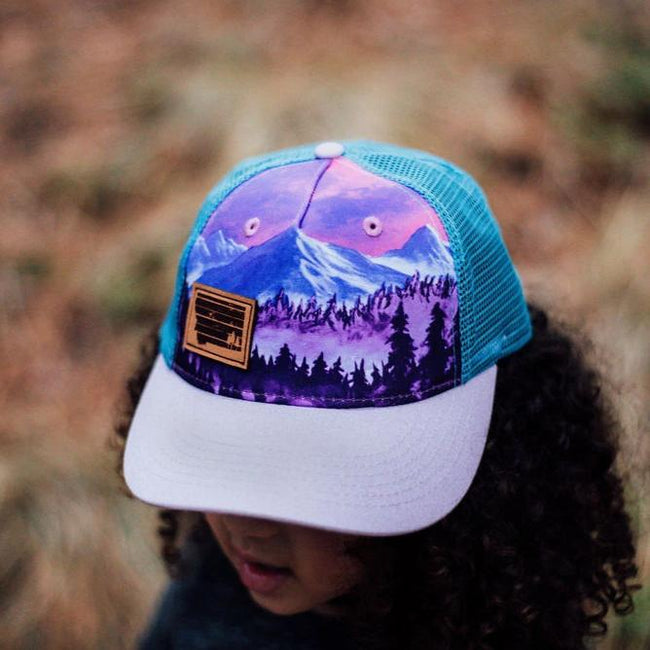 Mountain Scene Leather Patch Youth Trucker - Purple