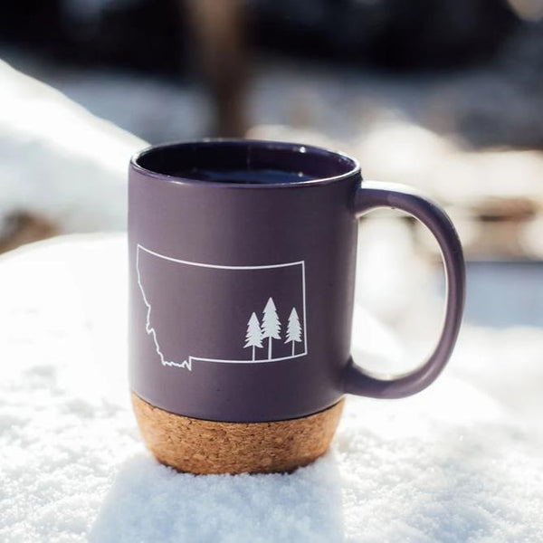 Montana Tree Outline Cork Mug - Purple