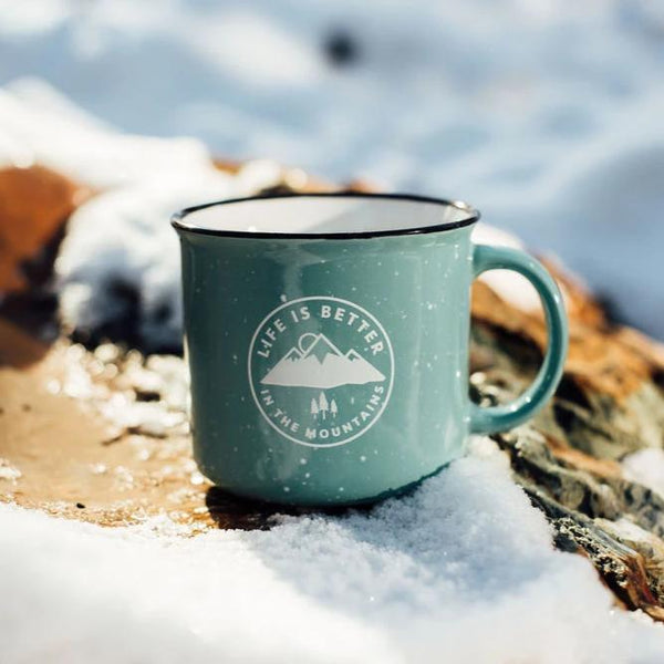 Life is Better in the Mountains Ceramic Mug - Aqua