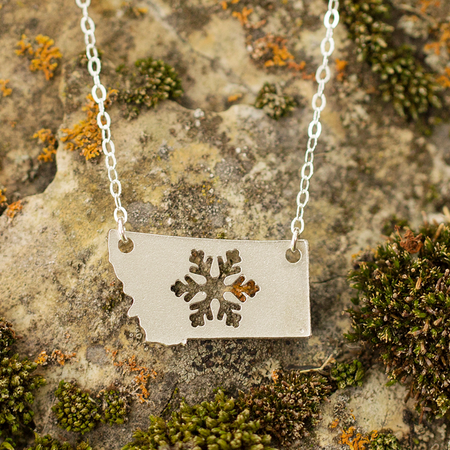 Geometric Mountain Stamped Necklace - Brass
