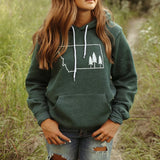 Montana Tree Outline Hoodie Green