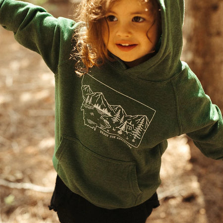 Montana Tree Outline Toddler Hoodie - Red