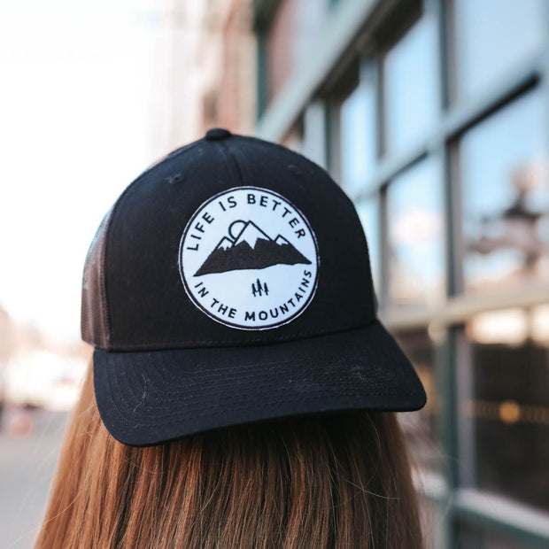 Life is Better in the Mountains Trucker - Black 1