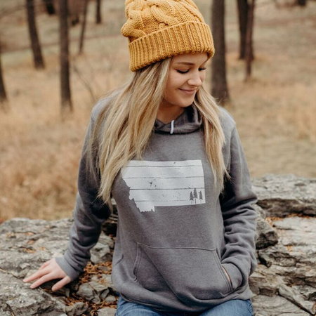 Montana Trees Ladies Fleece Crew - Grey