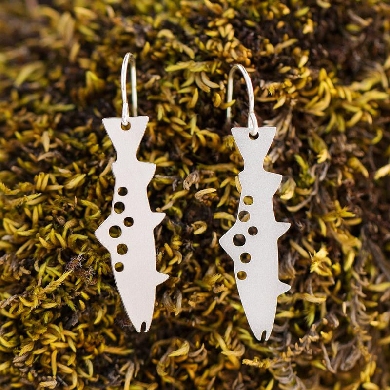 Trout Dangle Earrings - Silver