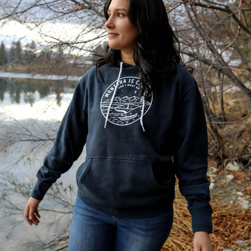 Montana is Calling and I Must Go Unisex Hoodie - Navy