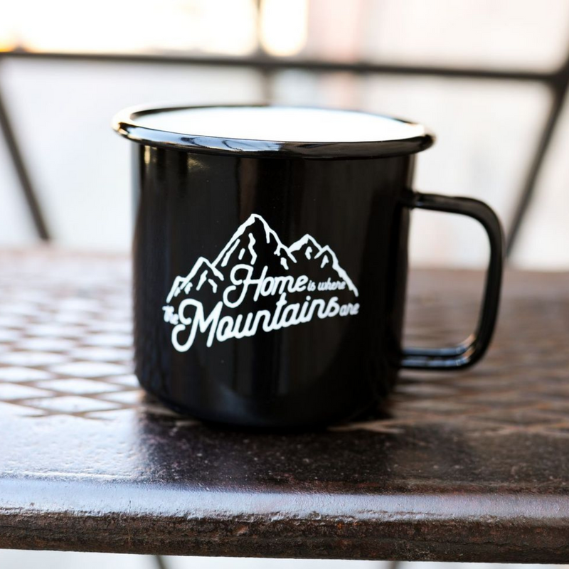 Home is Where the Mountains Are Enamel Mug - Black