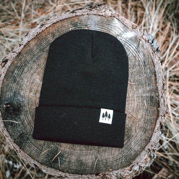 Three Tree Foldover Beanie - Black