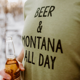 Beer & Montana All Day Unisex Tee - Heathered Green