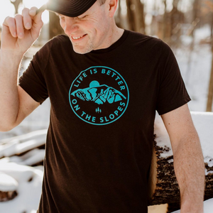 Life is Better on the Slopes Unisex Tee -Espresso