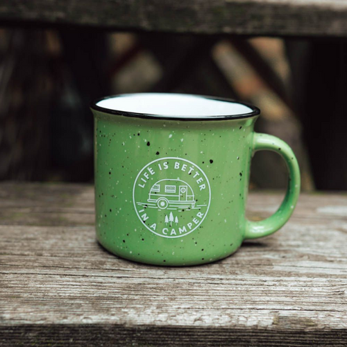 Life is Better in a Camper Mug - Green Speckled