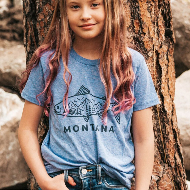 Montana Fish Kids Tee - Blue 1