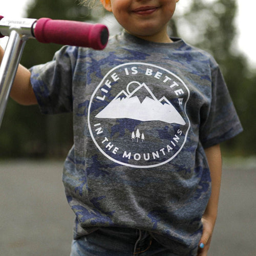 Life is Better in the Mountains Toddler Tee - Vintage Camo