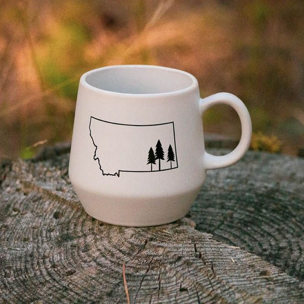 montana tree outline mug white