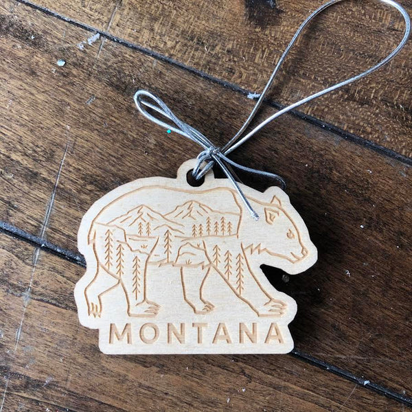 Bear Wooden Engraved Ornament