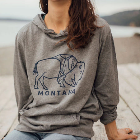 Montana Trees Fleece Unisex Hoodie - Grey