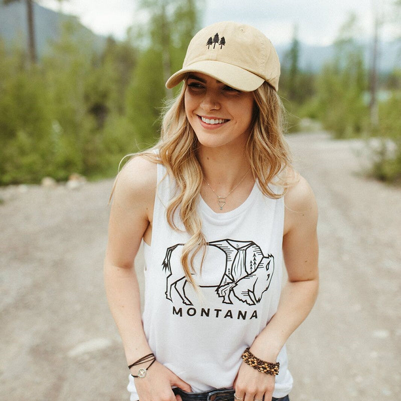 Montana Bison Muscle Tank Ladies-White