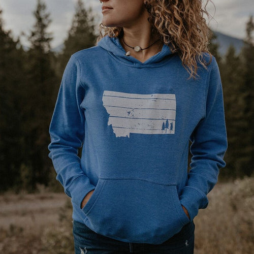 Montana Trees Fleece Hoodie Unisex - Blue