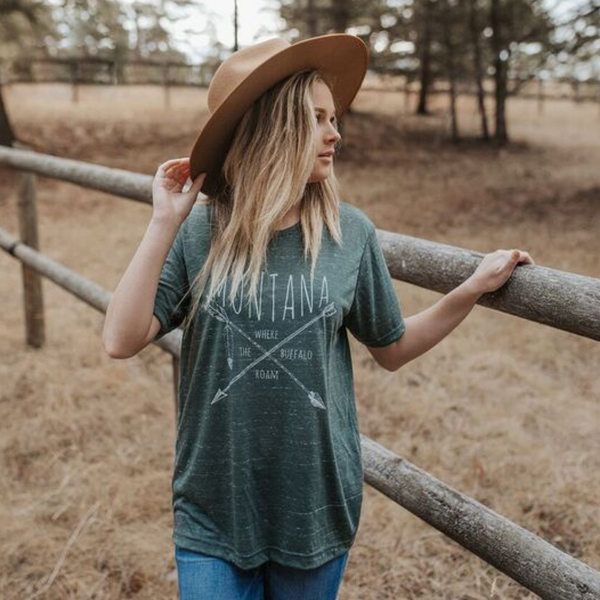 Montana Where the Buffalo Roam Unisex Tee - Heathered Green