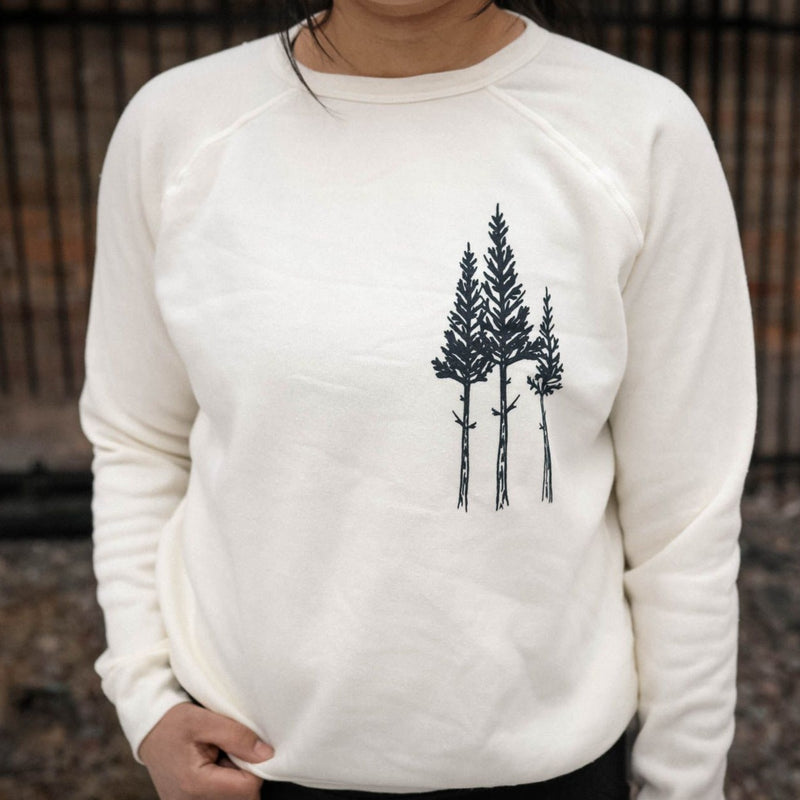 Rustic 3 Tree Ladies Crew Fleece - Cream