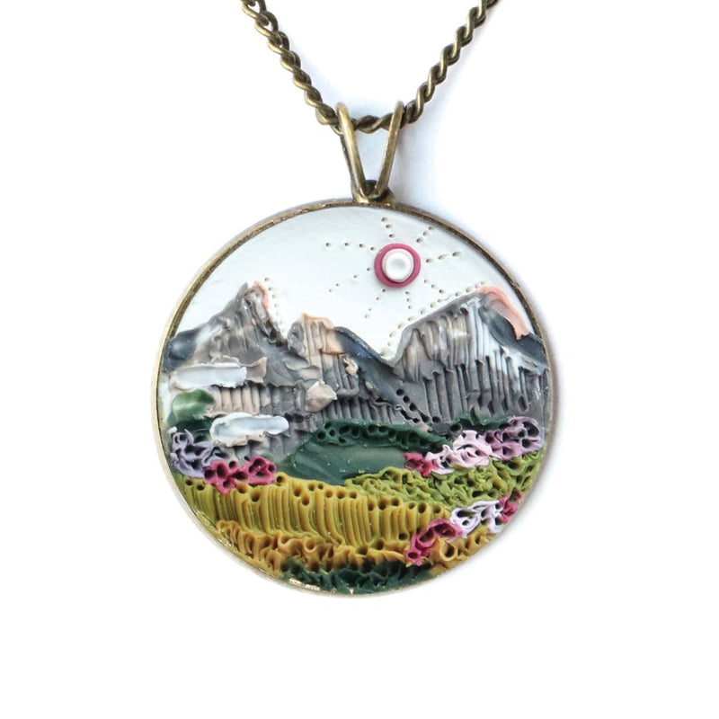Mountain Scape Earth Clay Necklace