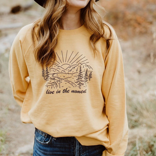 Live in the Moment Unisex Pullover - Mustard