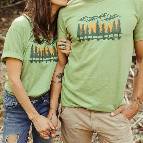 Fall Tamarack Trees Unisex Tee - Heathered Green